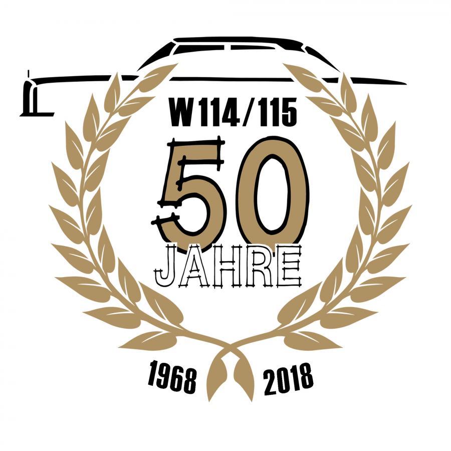 Das offizielle Club-Logo zum 50. Jubiläum der Baureihen W114 & W115