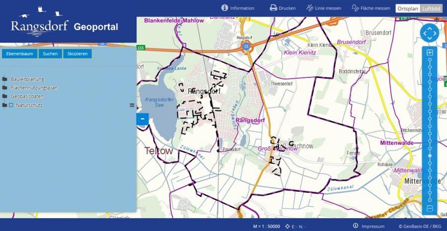 Foto mit externem Link zum Geoinformationssystems (Geoportal) der Gemeinde Rangsdorf