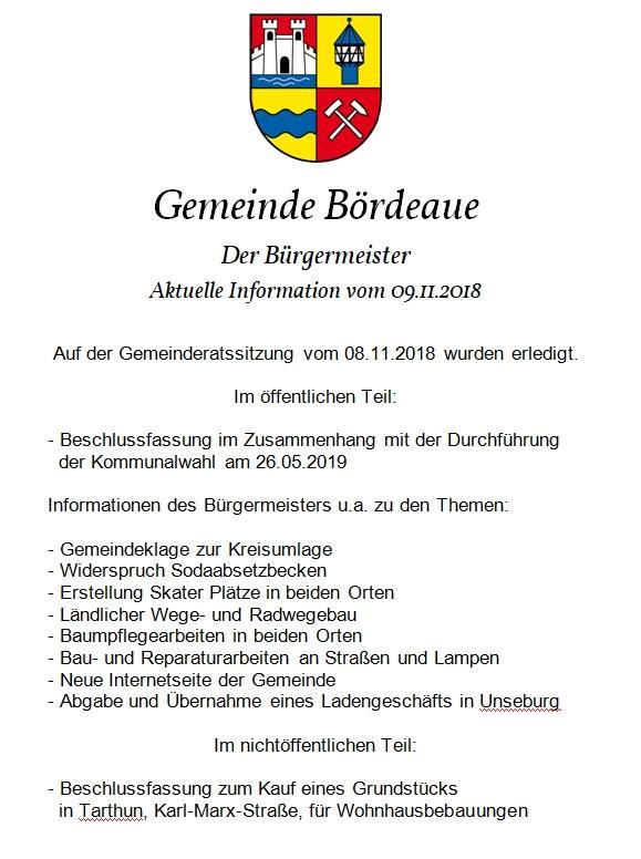 Info an Bürger GR Sitzung 08.11.2018