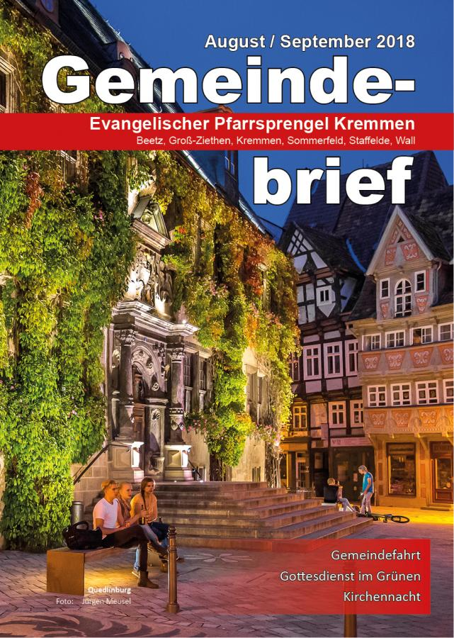 Gemeindebrief August / September 2018