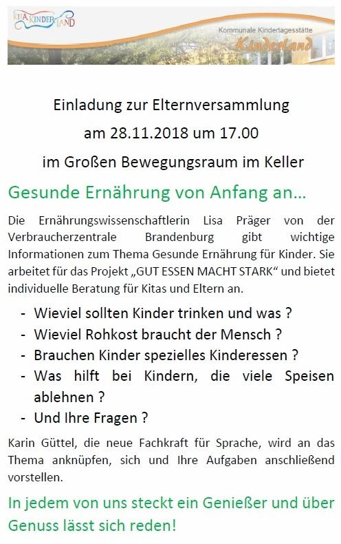 28. November 2018 Elterninformationsabend