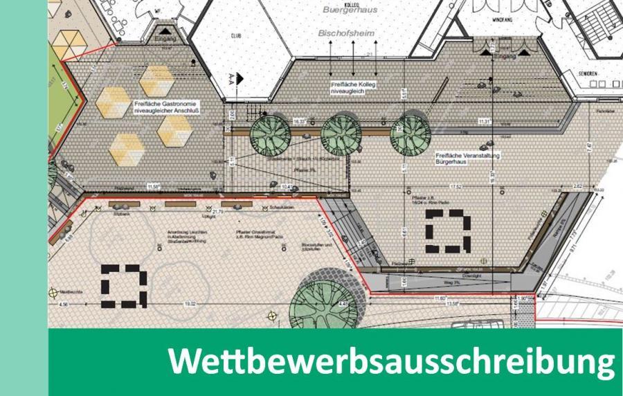 Link zu Wettbewerbsausschreibung; Bild zeigt einen Plan von dem Vorplatz des Bürgerhauses in Bischofsheim aus der Vogelperspektive