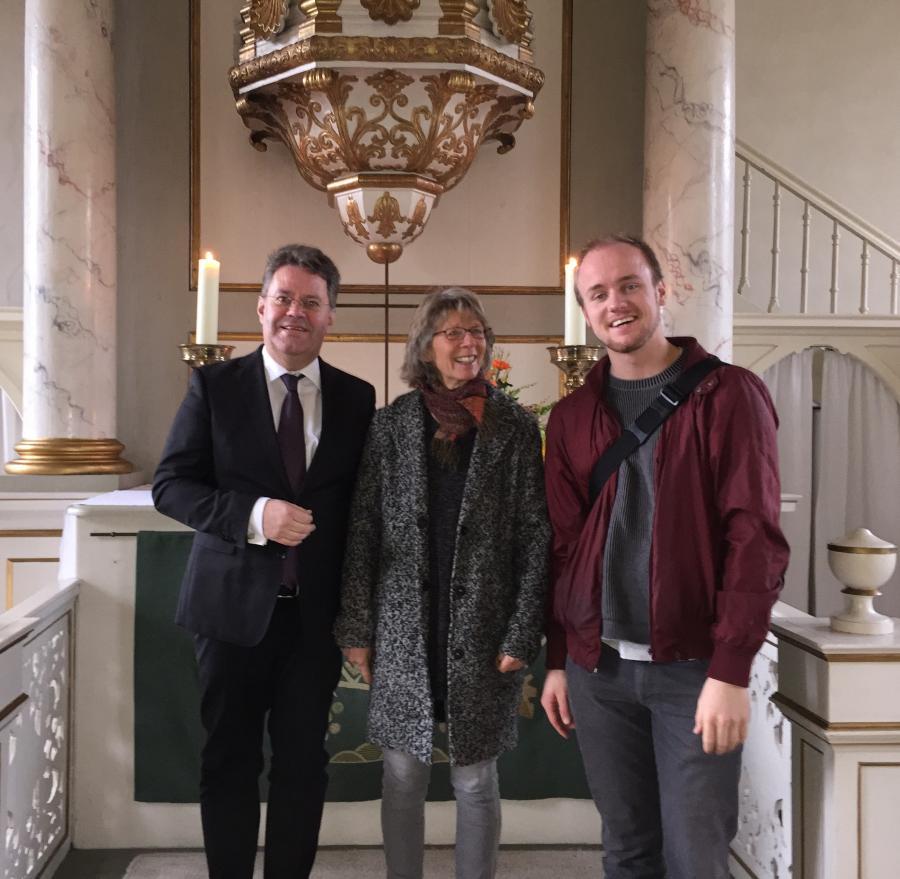 Lektor Frank Seger, Küsterin Sabine Backhaus, Organist Tammo Krüger