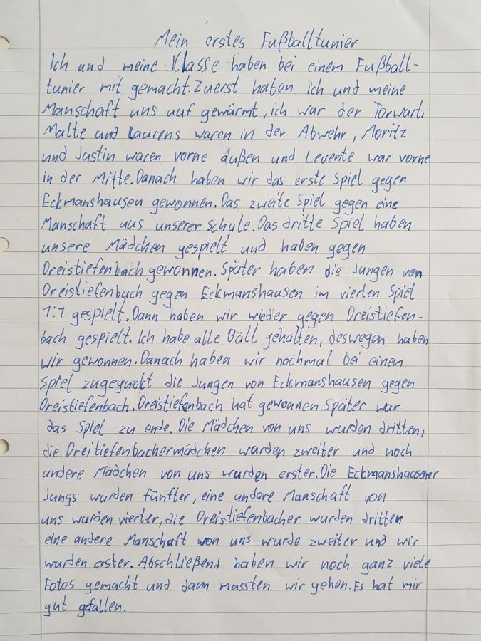 Text zum Fußballturnier von Oskar, Klasse 4