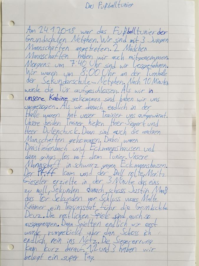 Text zum Fußballturnier von Eric, Klasse 4
