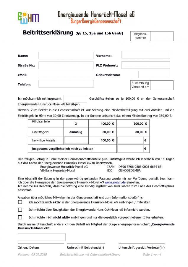 Beitrittserklärung Formular