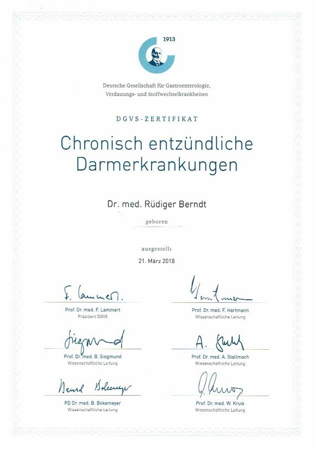 Zertifikat CED der DGVS