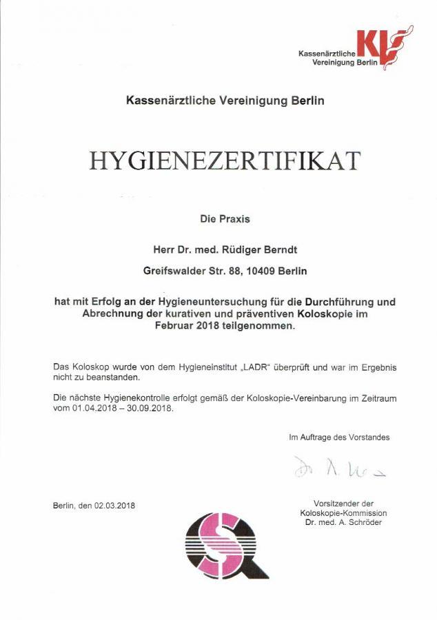 Hygiene-Zertifikat 04-09/2018