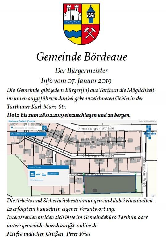 Info vom 07.01.2019 Holzbergung Tarthun K. Marx Str.