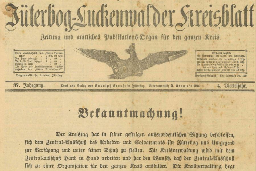 Revolution 1918 - Ausstellung - Zeitung