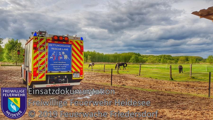 Einsatz 43/2019 | Entstehungsbrand im Offenstall | Friedersdorf Weg nach Dannenreich | 28.04.2019