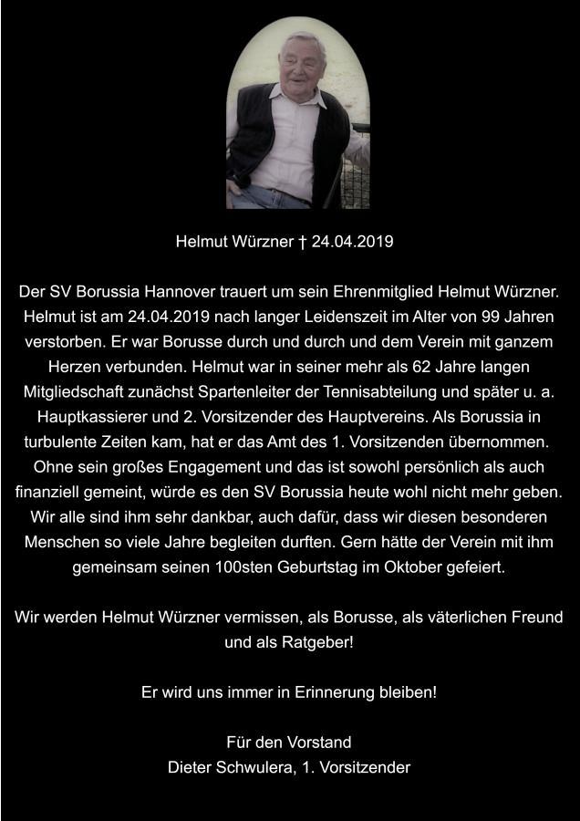 Traueranzeige Helmut Würzner 25.05.2019