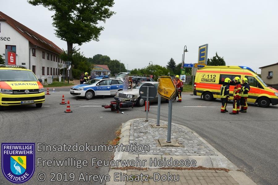 Einsatz 114/2019 | VU PKW - Krad | Friedersdorf Lindenstraße X Berliner Straße | 30.07.2019