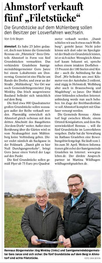 Bericht aus den Helmstedter Nachrichten vom 16.03.2019 (Autor: Erik Beyen)