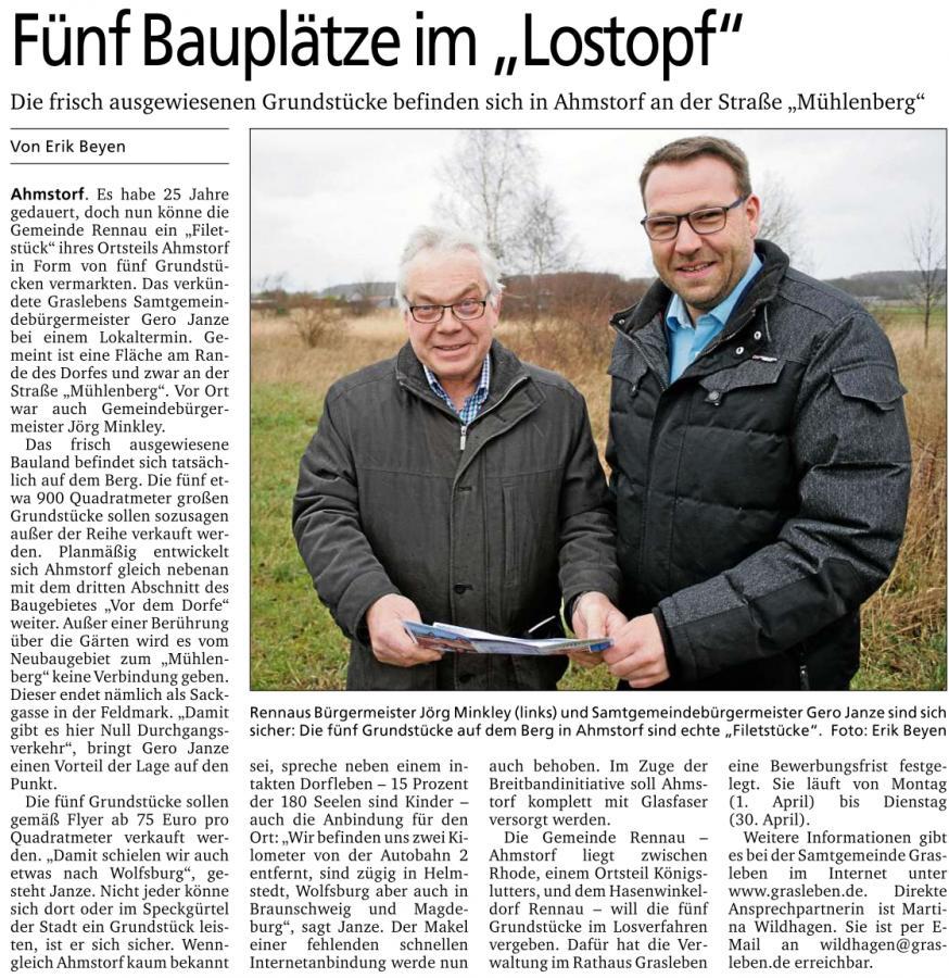 Bericht aus der Neuen Helmstedter vom 30.03.2019 (Autor: Erik Beyen):