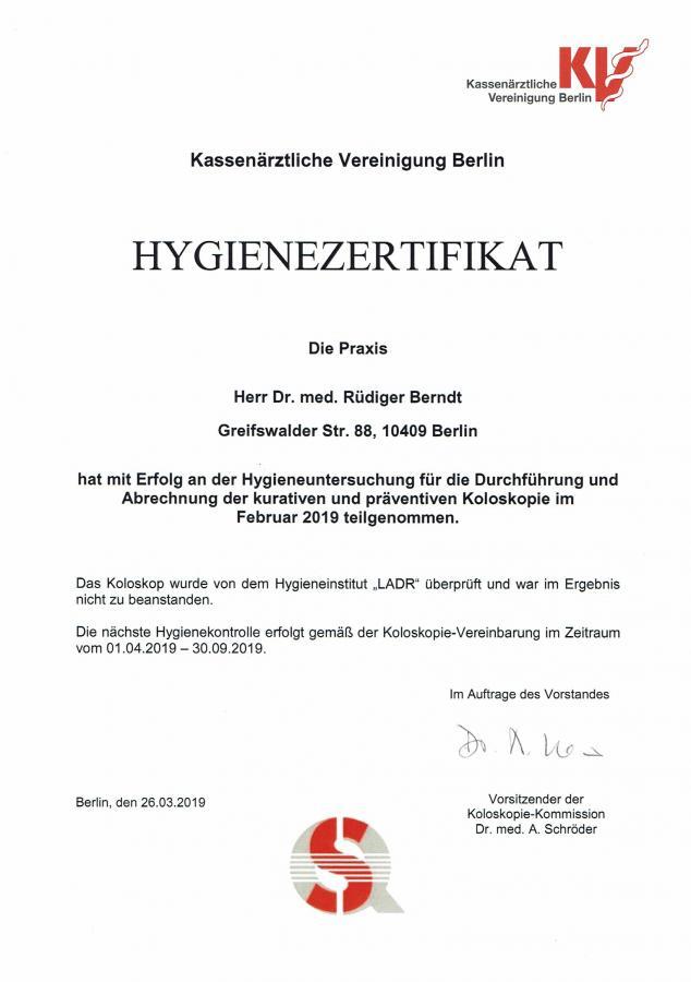 Hygiene-Zertifikat 04/19 - 09/19