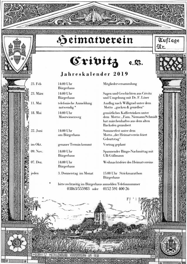 Veranstaltungsplan 2019