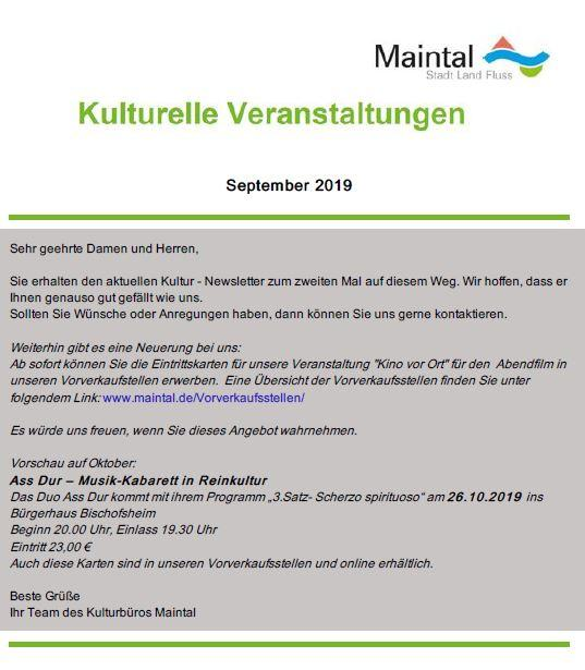 Kultur Newsletter September 2019