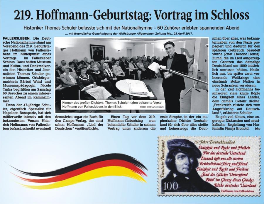 219.Geburtstag von Hoffmann von Fallersleben