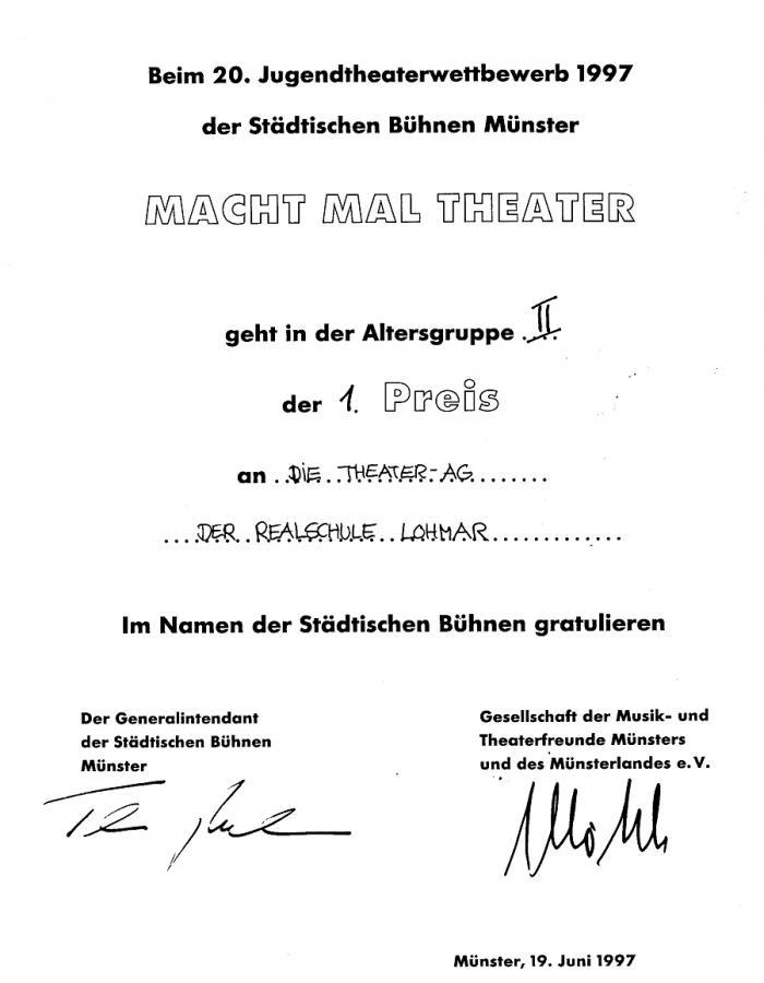 1. Preis beim Theaterwettbewerb der städtischen Bühnen Münster