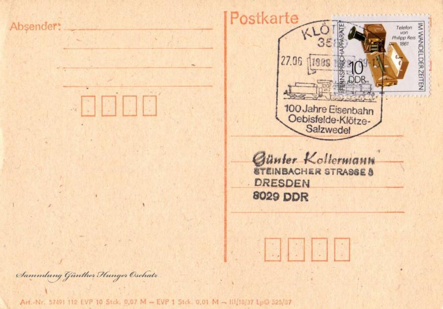 Postkarte 27.06.89