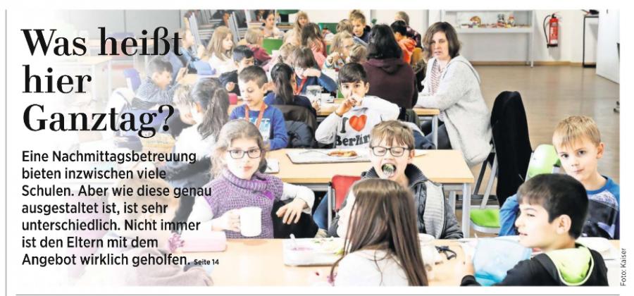 Ganztagsschule HAZ - Artikel 24.01.2018 Bild 1