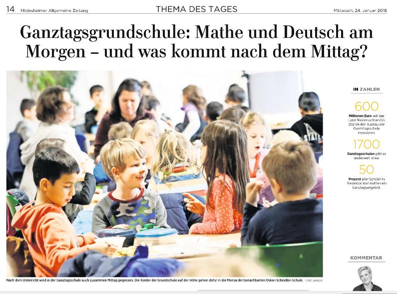 Ganztagsschule HAZ - Artikel 24.01.2018 Bild