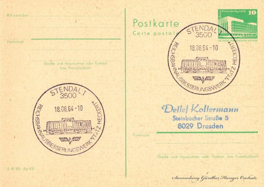 Postkarte Carte postale  18.06.84