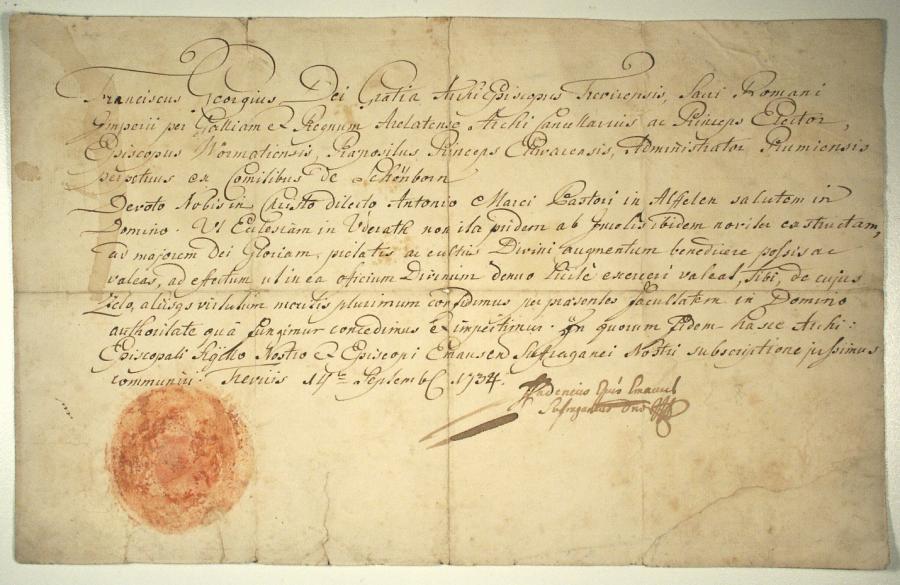 Am 14. September 1734 in Trier ausgestellte Urkunde anlässlich des Neubaus der Kirche