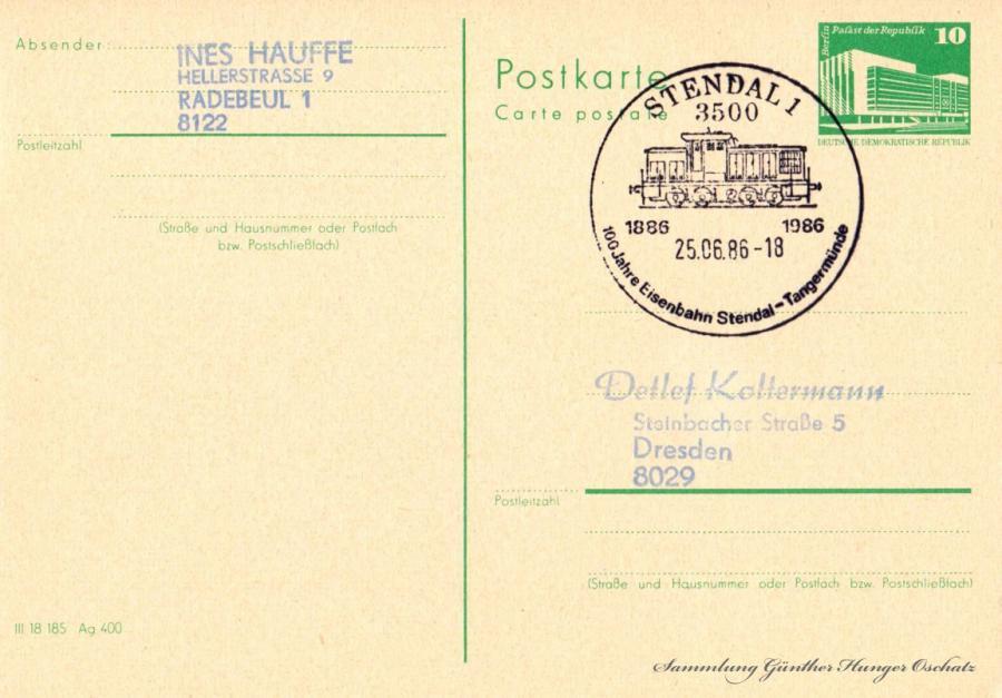 Postkarte Carte postale  25.06.86