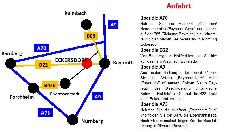 Anfahrt nach Eckersdorf