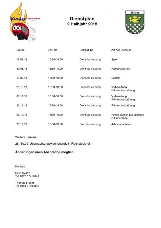 Dienstplan 2/2018