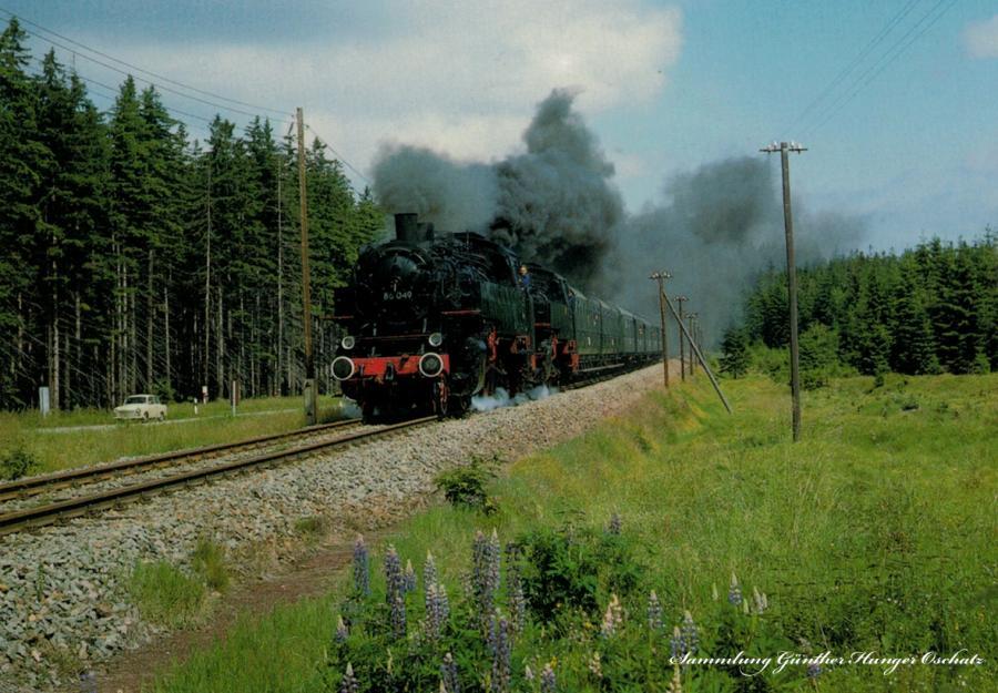 """Güterzugdampflokomotiven 86 1333 und 86 1049 mit einem Sonderzug zum """"Tag des Eisen- bahners"""" bei Reitzenhain"""