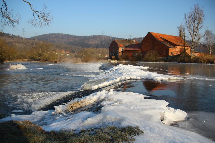 Fulda-Wehr mit Mühle Mecklar