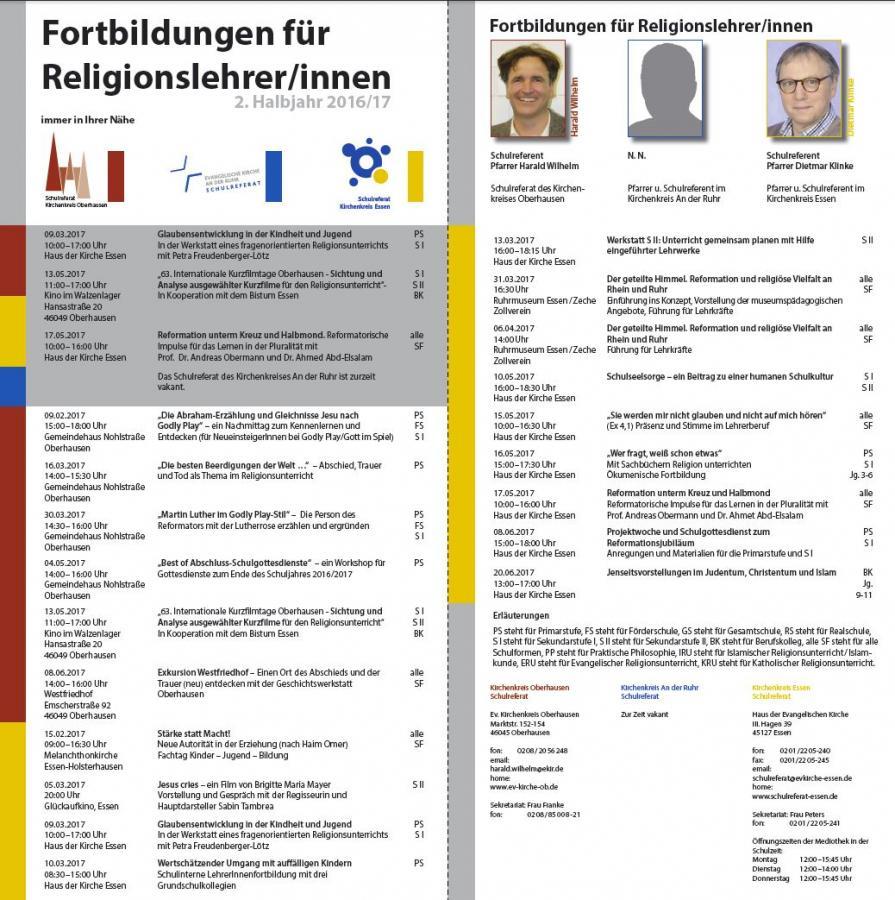 Flyer Fortbildungen 2. Schulhalbjahr 2016/2017