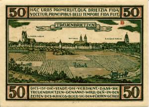 Notgeldschein aus dem Jahr 1921: B - Rückseite mit der Aufschrift: Dies ist die Stadt, die verdient, dass sie Treuenbrietzen genannt wird, denn in den Zeiten des Krieges blieb sie den Fürsten getreu.