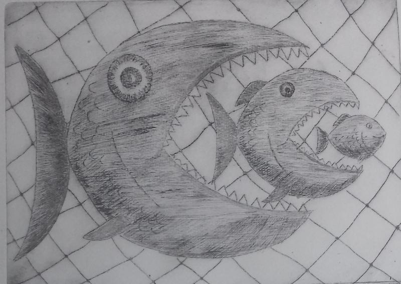 Fische2000 Radierung24,5 x 33 cm