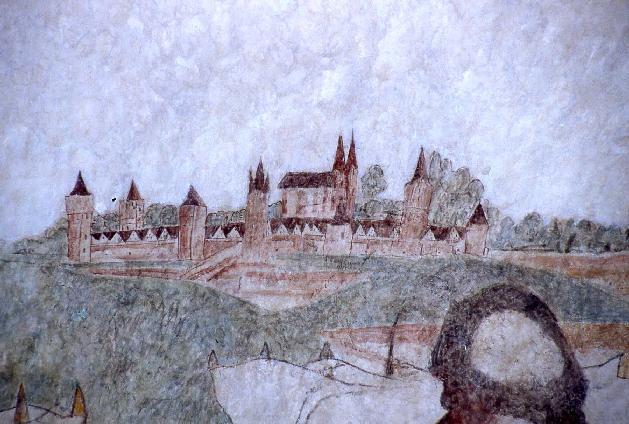 Bild: Die erste Abbildung der Stadt Immenhausen; Wandmalerei; Mitte 15. Jahrhundert