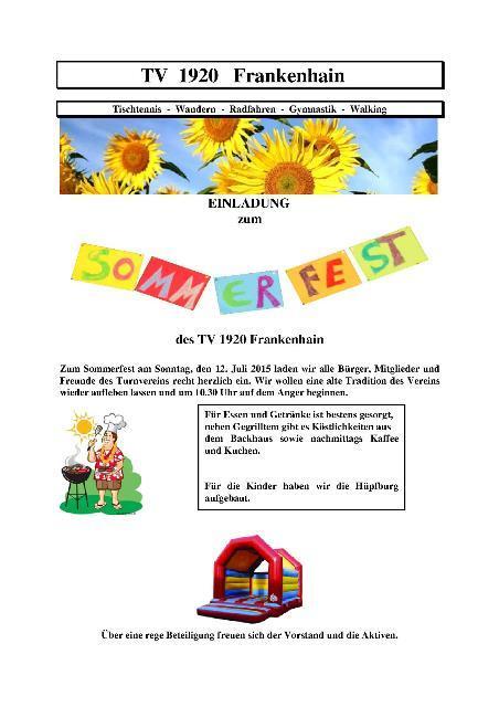 Sommerfest 2015 TV 1920 Frankenhain