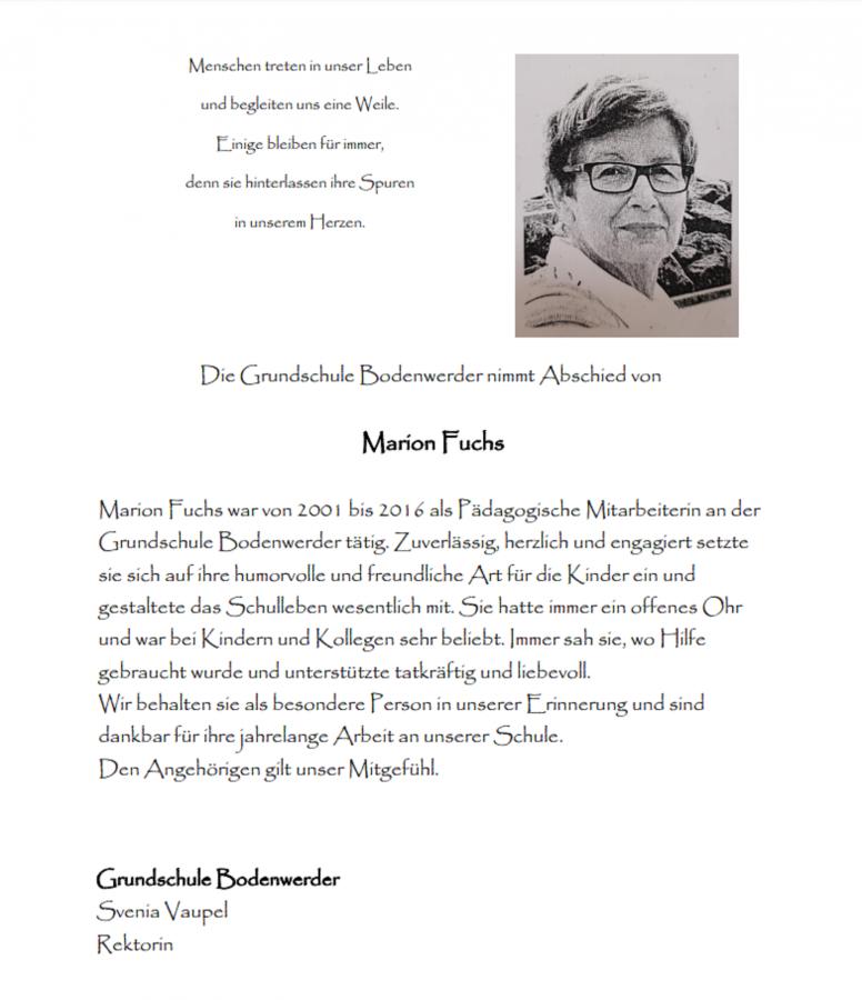 Nachruf Marion Fuchs