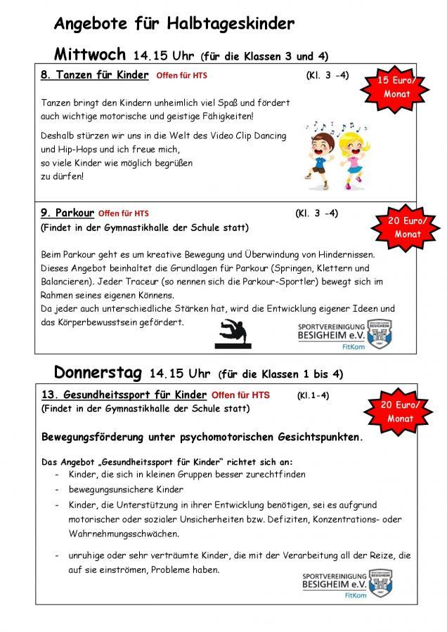 Angebote für Halbtageskinder SJ18-19 1. Hj.