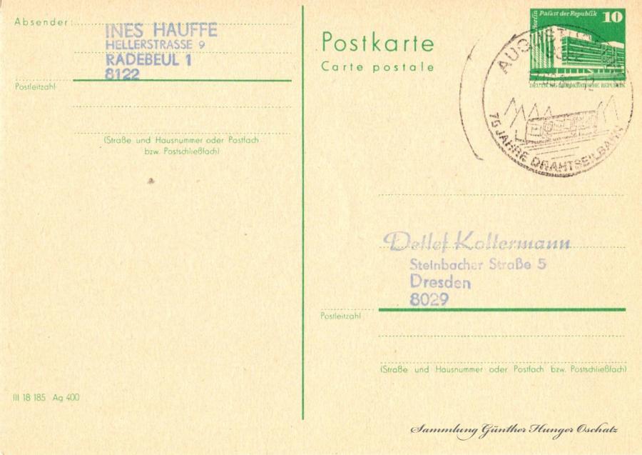 Postkarte carte postale  07.06.86