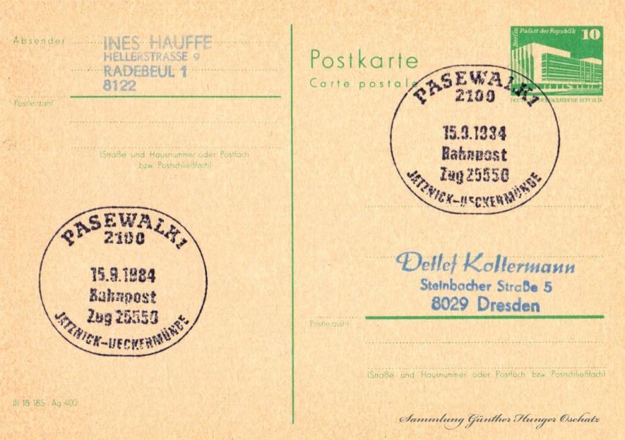 Postkarte carte postale  15.9.1984