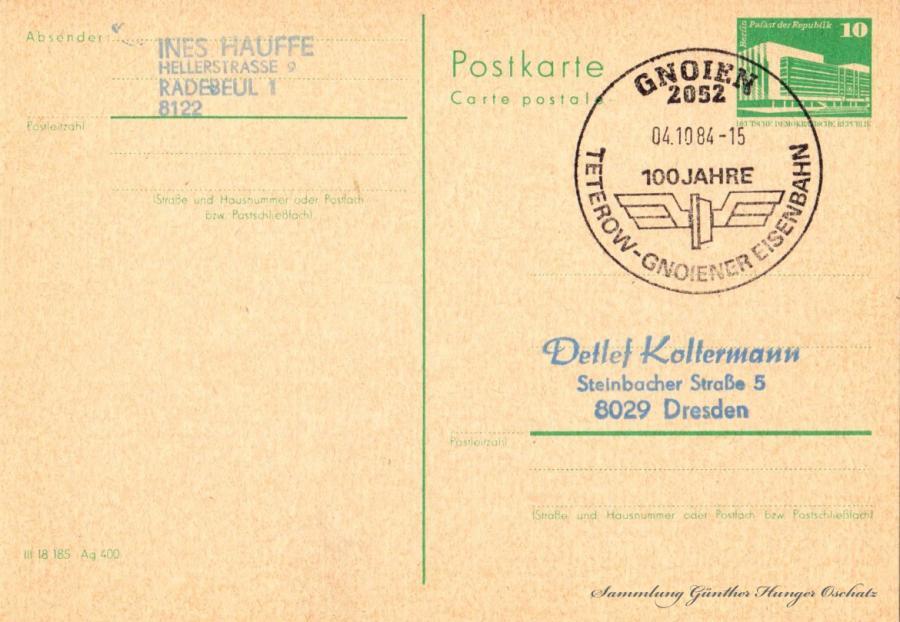 Postkarte carte postale  04.10.84