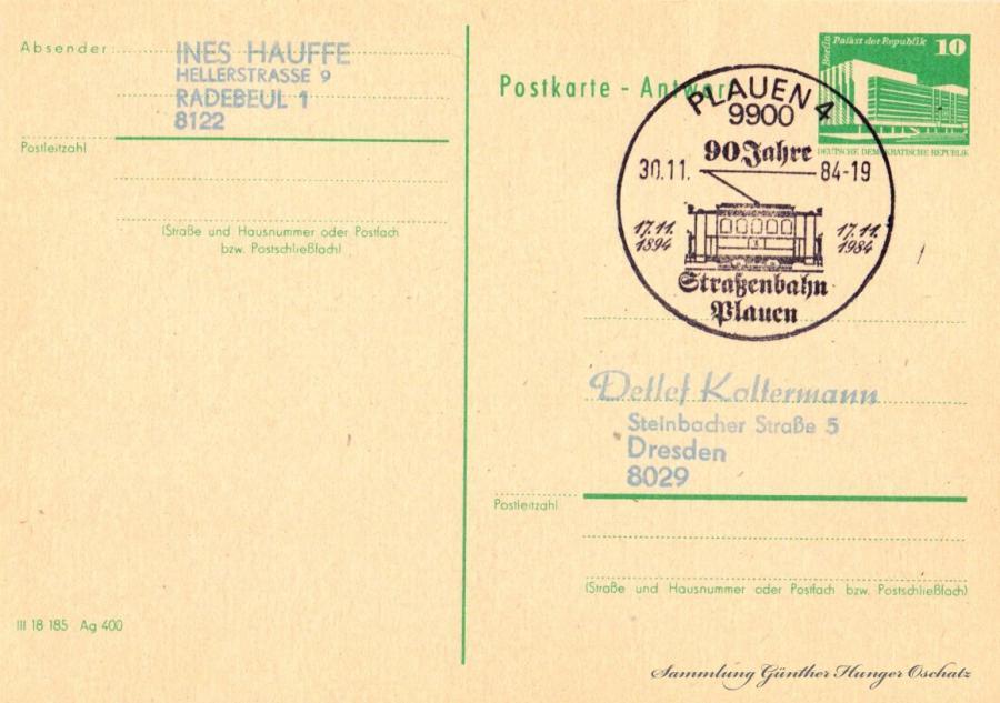Postkarte-Antwort  30.11.84