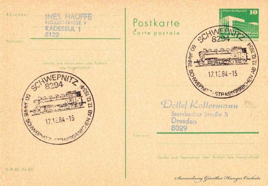 Postkarte carte postale  17.12.84