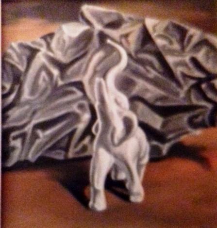 Weißer Elefant1987 Öl auf Hartfaser58 x 60 cm