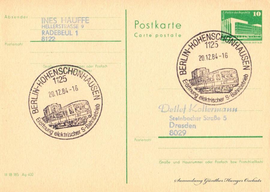 Postkarte carte postale  20.12.84