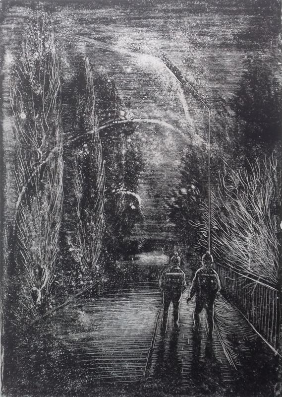 Schulweg im Spätherbst1987 Zementsteindruck30 x 42 cm