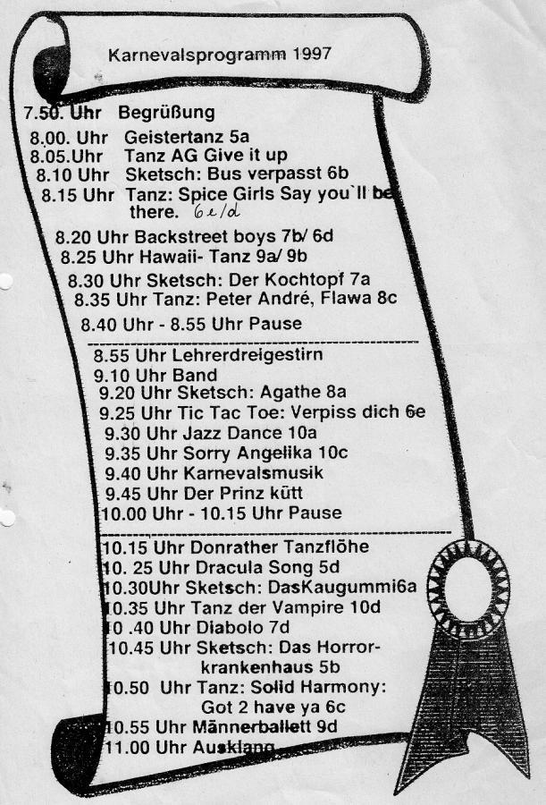 Karnevalsprogramm 1997